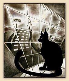 cat, cat drawing, black and white drawing, drawing, cool art, tear, eye, hiroko sakai