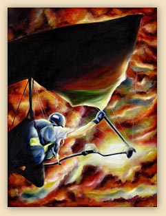 challenge, art, hang glider painting, sky painting, sun set painting, ikaros's wings,fantasy art, hiroko, hiroko sakai, sun, fly, dreams, cool painting, cool art