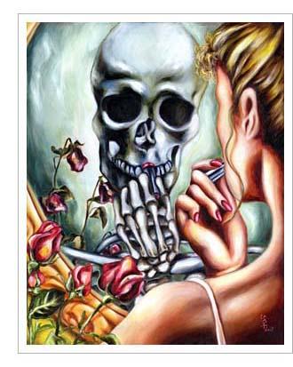 skull, here today gone tomorrow, おごるものぞ久しからず、骸骨、鏡, 油絵