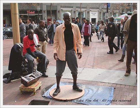 サンフランシスコ タップダンサー san francisco down town, tap dancer, black tap dancer, african american men, city, california