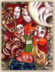 artist, artist painting, hiroko sakai, masks, mask painting, cool painting, funny painting, noh mask